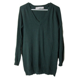 Zara knit green long sweater with elbow patches